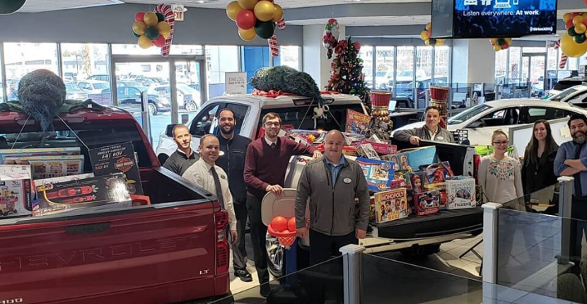 The collection of the toys donated at Apple Chevy